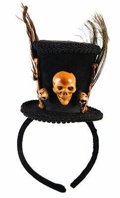 Halloween Costumes Mini Top Hat (Voodoo Mini Top Hat Headband Skull & Bones Feathers Halloween Costume)