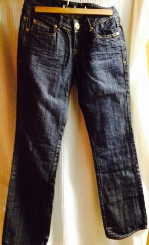 Womens Guess Jeans 28 X 34 Sz M Fancy Bling Dark Blue Denim Boot Cut
