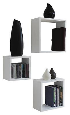 3 White Floating Cube Shelves, Home, Shelving, Storage Solutions, New