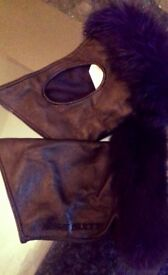 Stunning Miss Sixty Faux Fur And Leather Fingerless Gloves Brand New