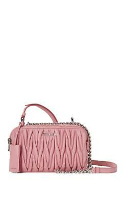 Miu Miu Bandoliera Matelassé Pink Lambskin Leather Cross Body Bag