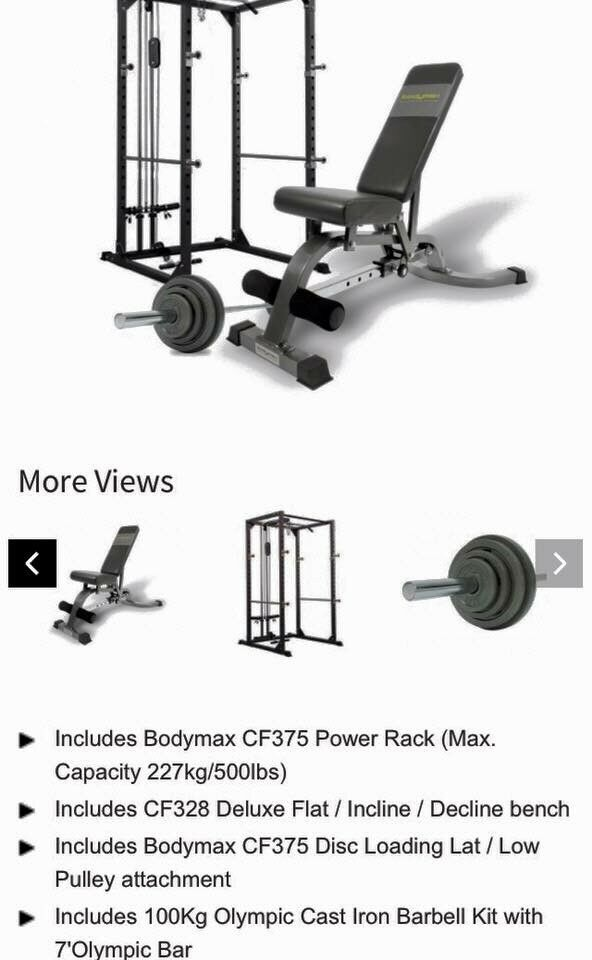 Home gym equipment, squat rack, bench, calf machine and weights