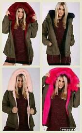 Faux Fur Parka Various Colours Sizes. SALE