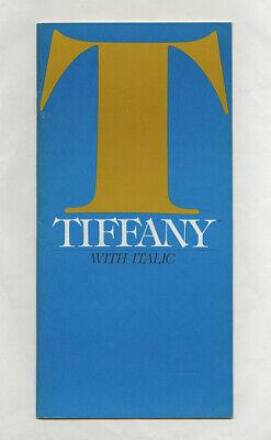 1981 Ed Benguiat TIFFANY 36-pg International Typeface Corp Specification (Tiffany Corp)