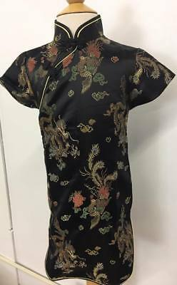 Girl's Black and Gold Chinese Silky Dresses $9.99 - Gold Girls Dresses