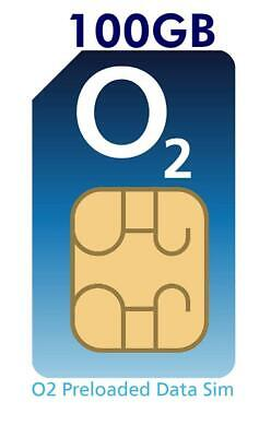 O2 4G Data Sim Card Preloaded with 100GB of Data. Free Roaming in 74 countriesFo