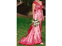 STUNNING COUTURE RED/WHITE TAILOR MADE BEADED WEDDING / EVENING DRESS 12-14