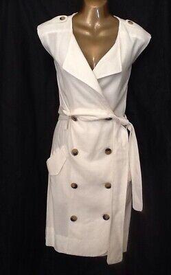 Mango White Tuxedo Dress Linen Blend Double Breasted Size 12