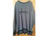 Retro KANGOL crew neck Jumper Dark Grey Pullover Jumper Size L