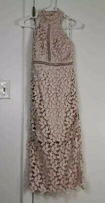 Bardot Womens A Line Halter Dress Pink Lace Stretch Midi Sleeveless Zip 4 New