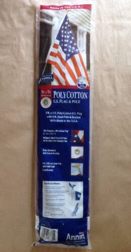 Annin Flagmakers - 3ft x 5ft PolyCotton U.S. Flag & 6ft Pole