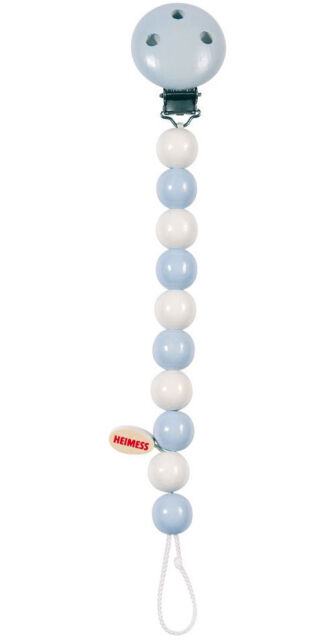 Heimess Blue Baby Clip On Dummy Soother Pacifier Chain Wooden Child Toy BNIP