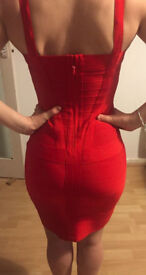 Red fitted cocktail dress size 10 for sale