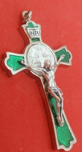 """Green Enamel Silver-tone St. Benedict 3"""" Crucifix, Made in Italy"""