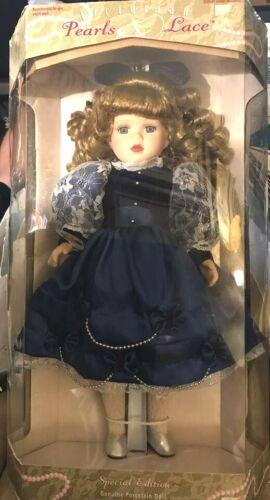 "1999 Brass Key Victorian Pearls & Lace Limited Edition Porcelain Doll 16"" NIB"