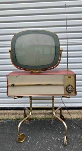 """RARE Vintage Philco """"PREDICTA"""" Red Princess Television TV"""