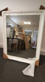 Large White Mirror Frame + black Mirror