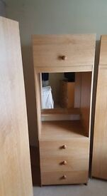 3 wardrobes and chest of 4 drawers