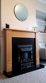 Electric Fire and Surround. Oak Veneer with brass detail