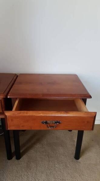 Wooden Sidetable Bedside Table With 1 Drawer Metal Frame Bedside