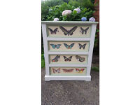 Stunning upcycled chest of drawers storage unit furniture green cream and white shabby chi