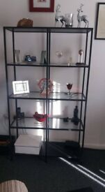 display unit in black metal and glass