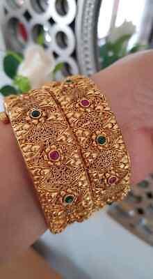 Indian Pakistani 2 adjustable Gold plated Bangles Kara Set Size 2.4 Openable