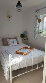French ivory frame 4ft small double bed with quality mattress