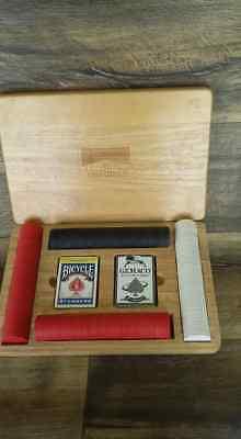 Chips Oak Case - Vintage Marlboro Brand Card & Poker Chip Set, Oak Wooden Case - Advertising