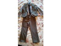 Boys Next suit. Grey trousers and matching waistcoat, stripy blue and white shirt and navy tie.