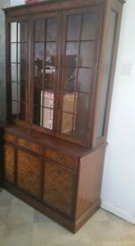 Walnut Triple Display cabinet Dresser Glass Doors
