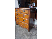 Antique Edwardian Oak Navel Chest Of Drawers