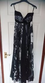 Monsoon evening wear party dress (black, white & silver silk and viscose layers) - size 10