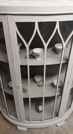 Lovely bow fronted cabinet shabby chic Paris grey