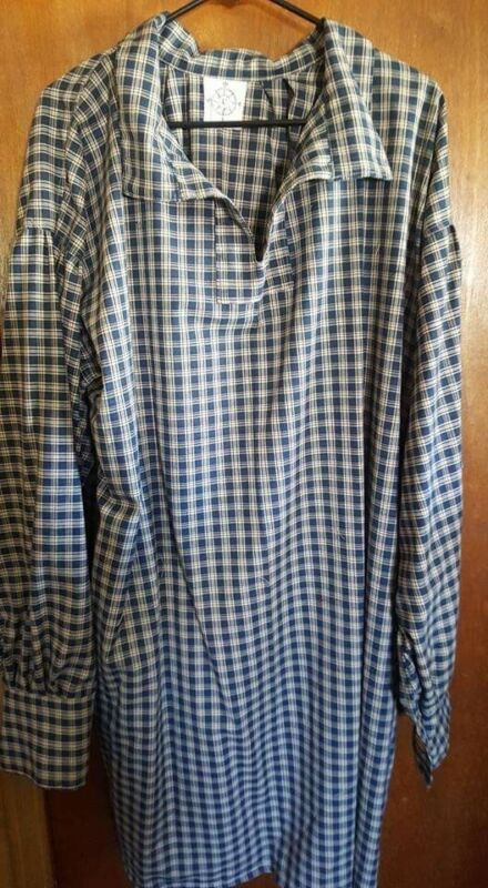 Mountain Man, Longhunter, Reenactor Shirt, Navy plaid, 2XL