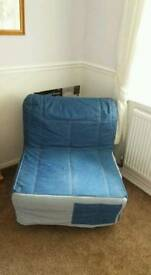 Denim bed chair in vgc can deliver 07808222995