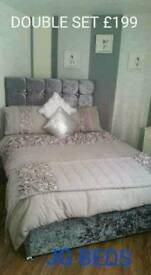 Crushed velvet (silver) headboard