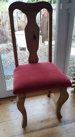 Solid pine dining chair red upholster (8)