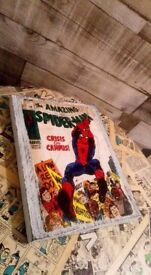 spiderman picture on wood block