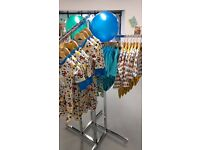 Chrome four way clothes rail, merchandiser - ideal for retail store or boutique - amazing condition