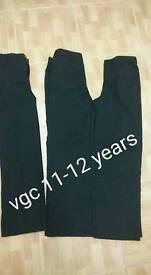 Boys smart black trousers 11-12 vgc