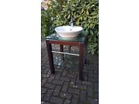 AS NEW... Free standing sink - wood and glassstand with porcelain round bowl and waste.