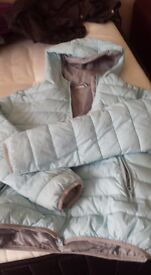 blue jacket with hood