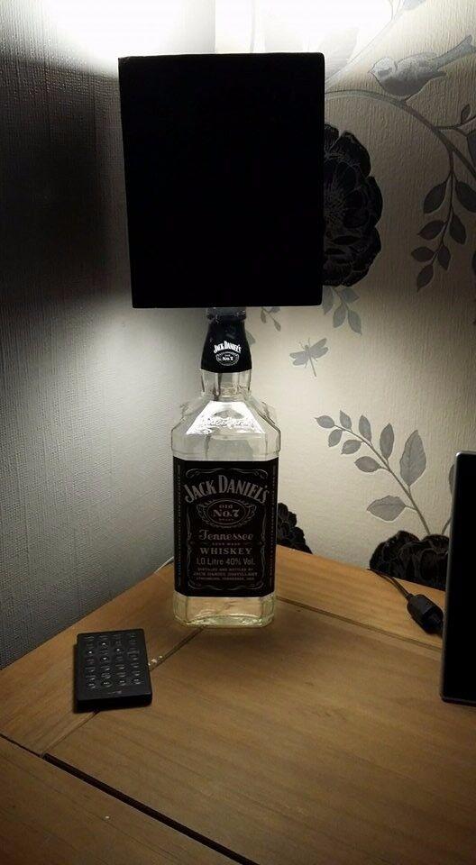Jack daniels 1ltr bottle table lamp with black and white painted jack daniels 1ltr bottle table lamp with black and white painted wooden lamp shade aloadofball Images