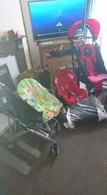 Selling red pram, bouncer and accessories