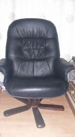 Reclining swivel faux leather chair great condition buyer collects