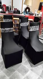 SET OF 4 DING CHAIRS WITH COVERS
