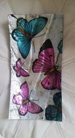 Handpainted glass butterfly bowl