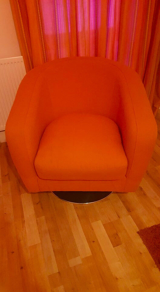 Orange Fabric Swivel Chair From Dfs 200 Or Best Offer