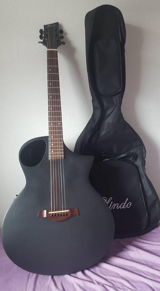 Lindo Neptune Matte Black Electro Acoustic Guitar